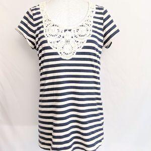 RXB Lg Blue Off-White Stripe Crochet Top Stripe